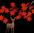 紅葉と鹿のイラスト