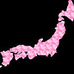 桜柄の日本地図のイラスト