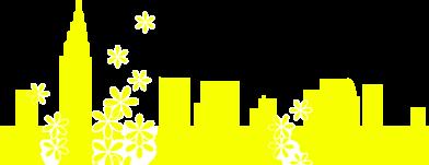街並みと花のイラスト