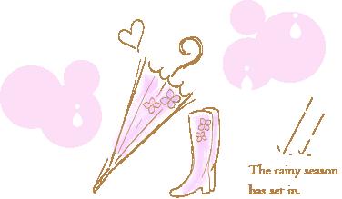 お洒落な傘と長靴