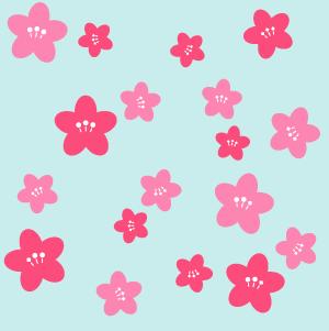 桃の花のパターン 手描き風
