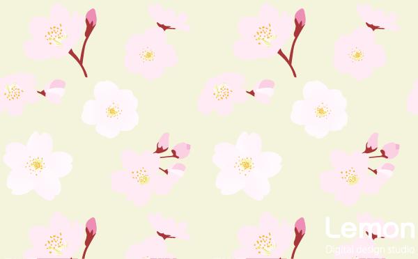 桜の花のパターン 手描き風