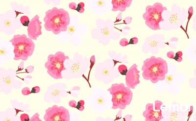桜と桃の花のパターン 手描き風