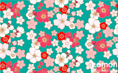 桜と梅の花のパターン 手描き風