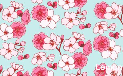 桜と桃の花のパターン