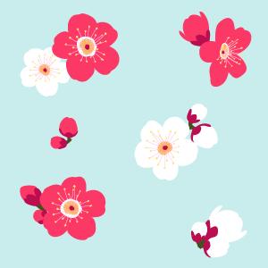 梅の花のパターン 手描き風