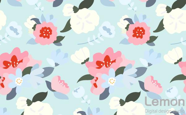 花のパターン パステルカラー