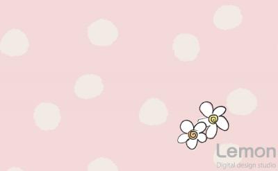 お洒落な水玉の背景と花