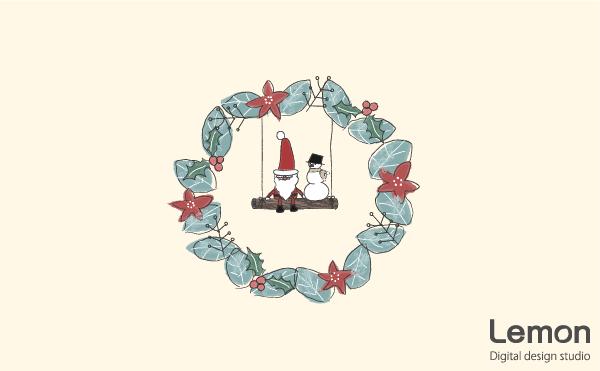 クリスマスリースのイラスト 北欧風