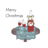クリスマスワインのイラスト 北欧風