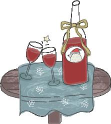 北欧風のワインとテーブルのイラスト