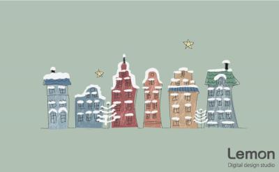 クリスマスの街並み 北欧風