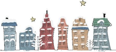 北欧風のクリスマスの街並みのイラスト